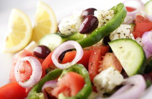close-up of greek salad
